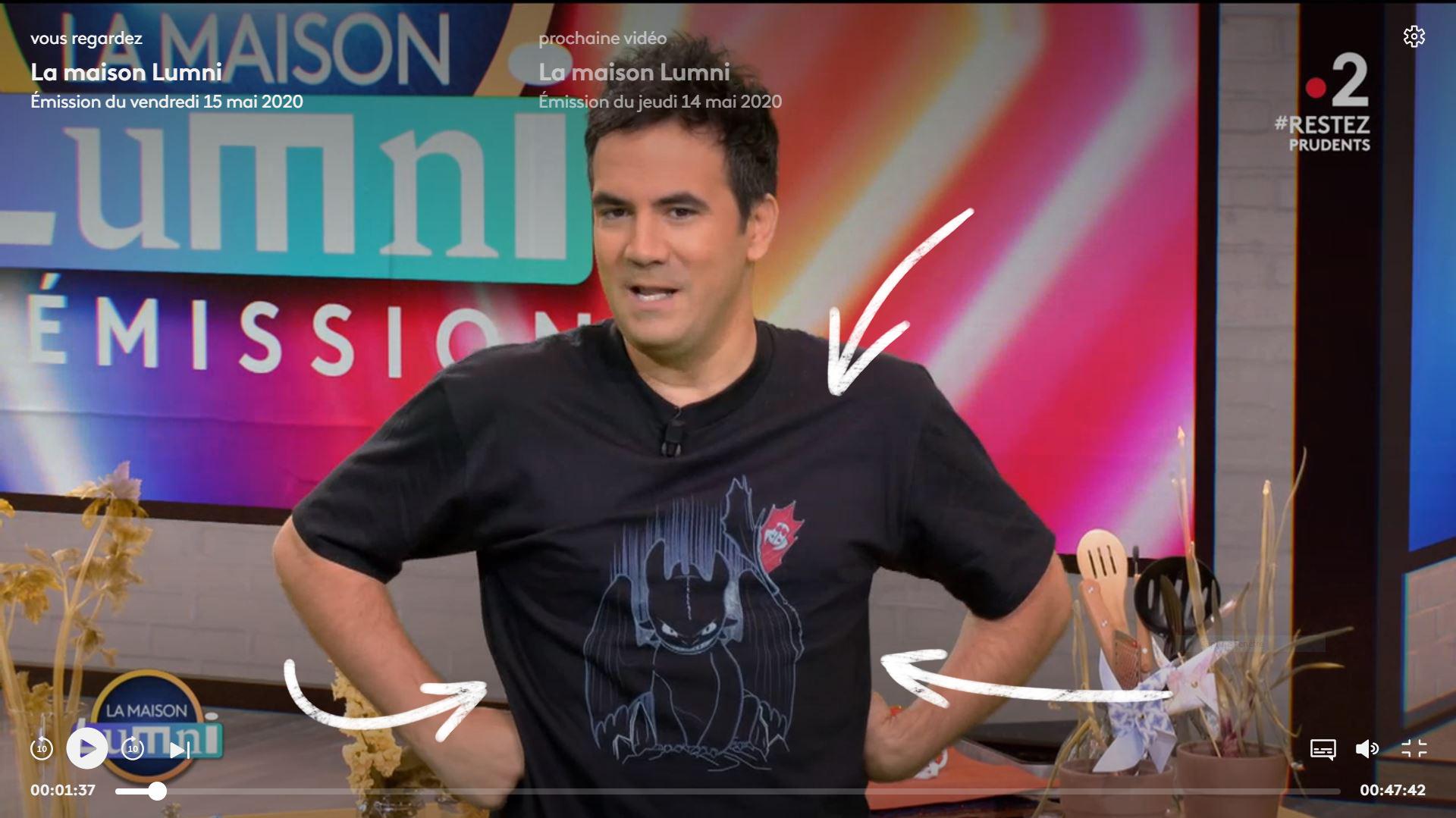 """Le t-shirt """"Shadow of the Night Fury"""" porté par Alex Goude sur France 2"""