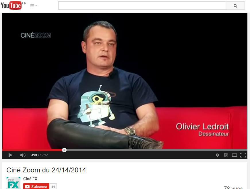 Olivier Ledroit portant le t-shirt Bendernion sur la chaîne Ciné FX